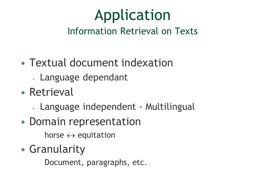 Application Information Retrieval on Texts