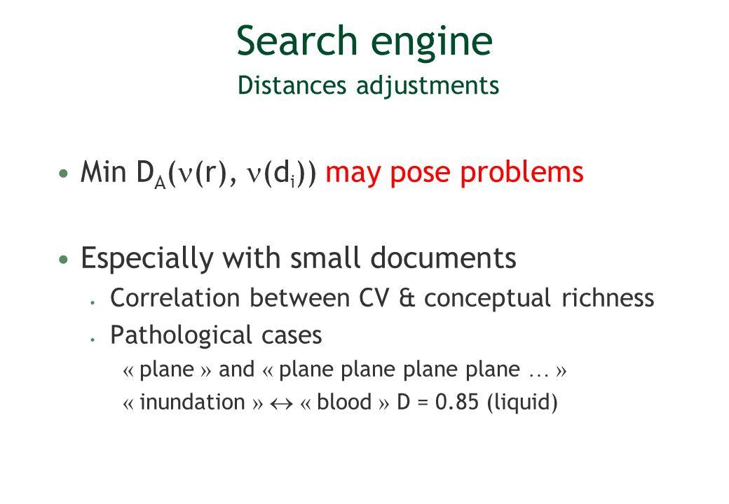 Search engine Distances adjustments