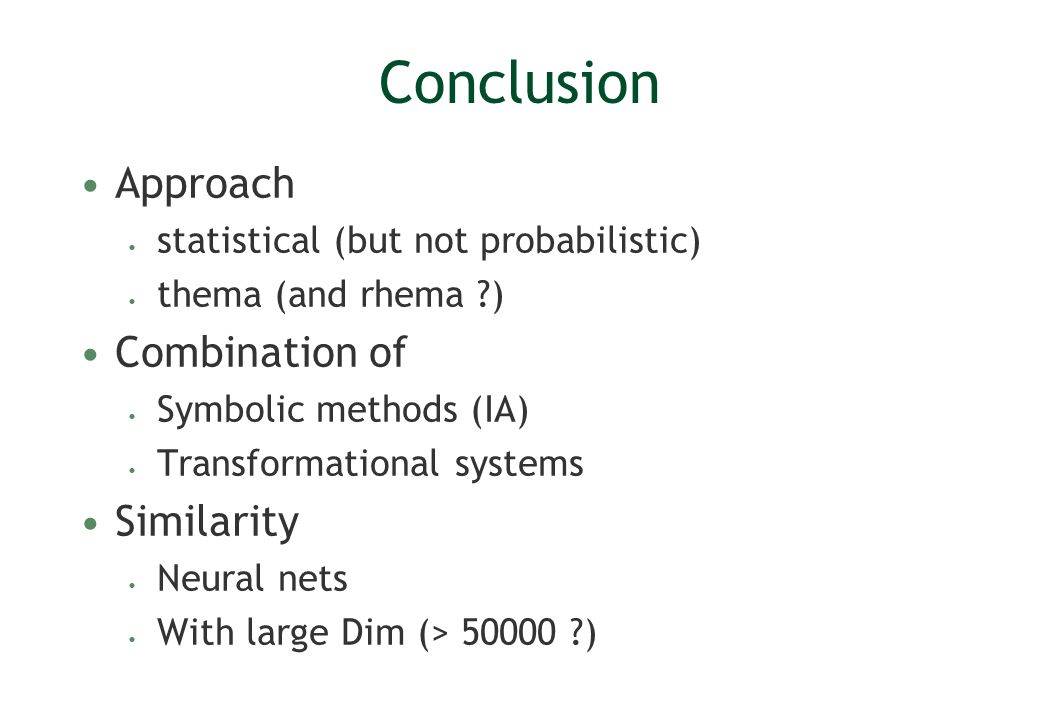 Conclusion Approach Combination of Similarity