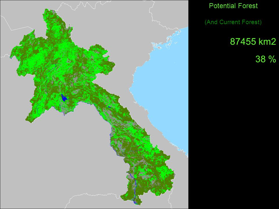 Potential Forest (And Current Forest) km2 38 %