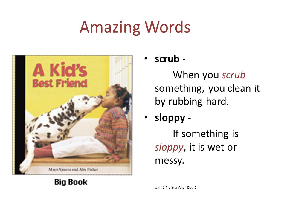 Amazing Words scrub - When you scrub something, you clean it by rubbing hard. sloppy - If something is sloppy, it is wet or messy.