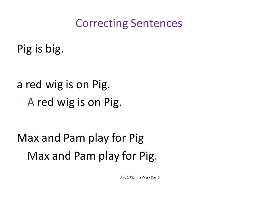 Correcting Sentences Pig is big. a red wig is on Pig.