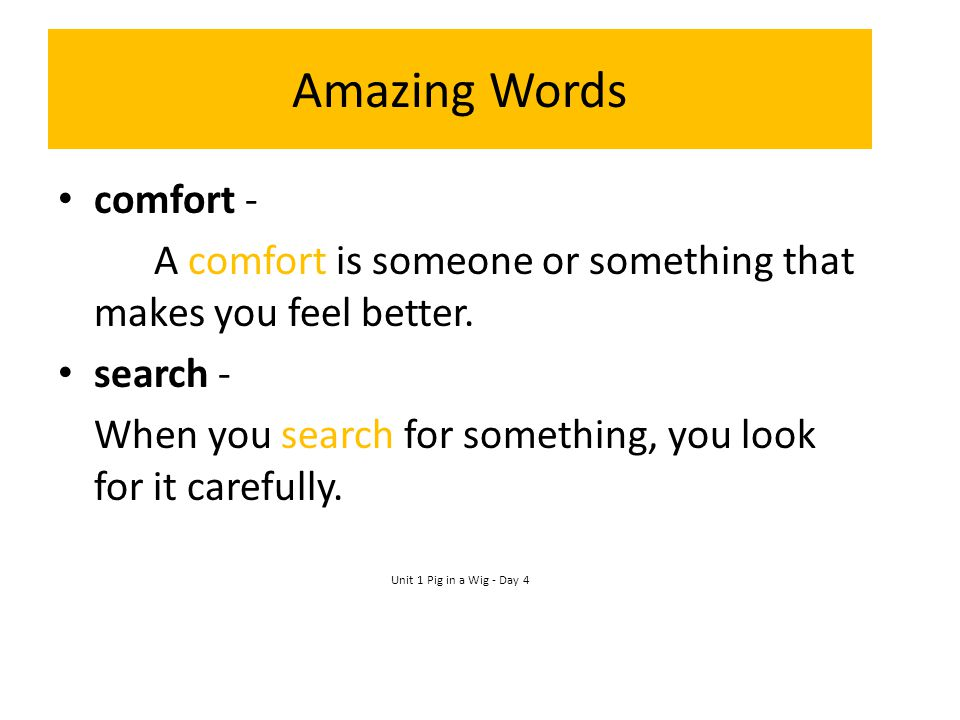 Amazing Words comfort -