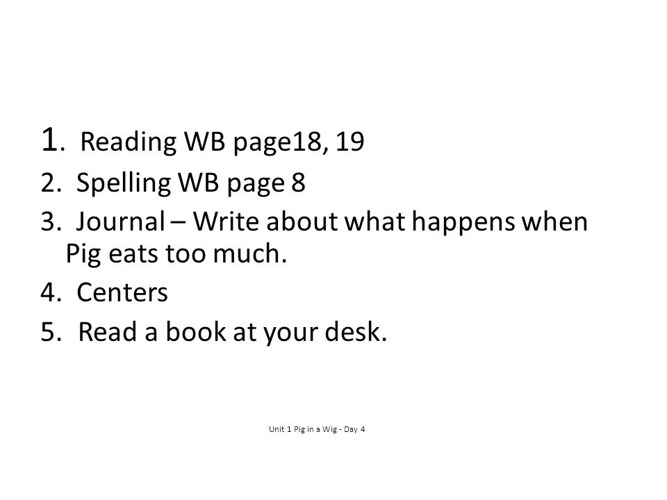 1. Reading WB page18, Spelling WB page 8