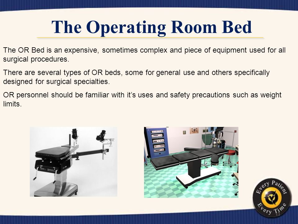 The Operating Room Bed The OR Bed is an expensive, sometimes complex and piece of equipment used for all surgical procedures.