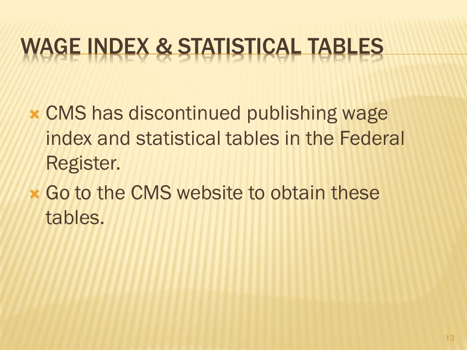 WAGE INDEX & STATISTICAL TABLES