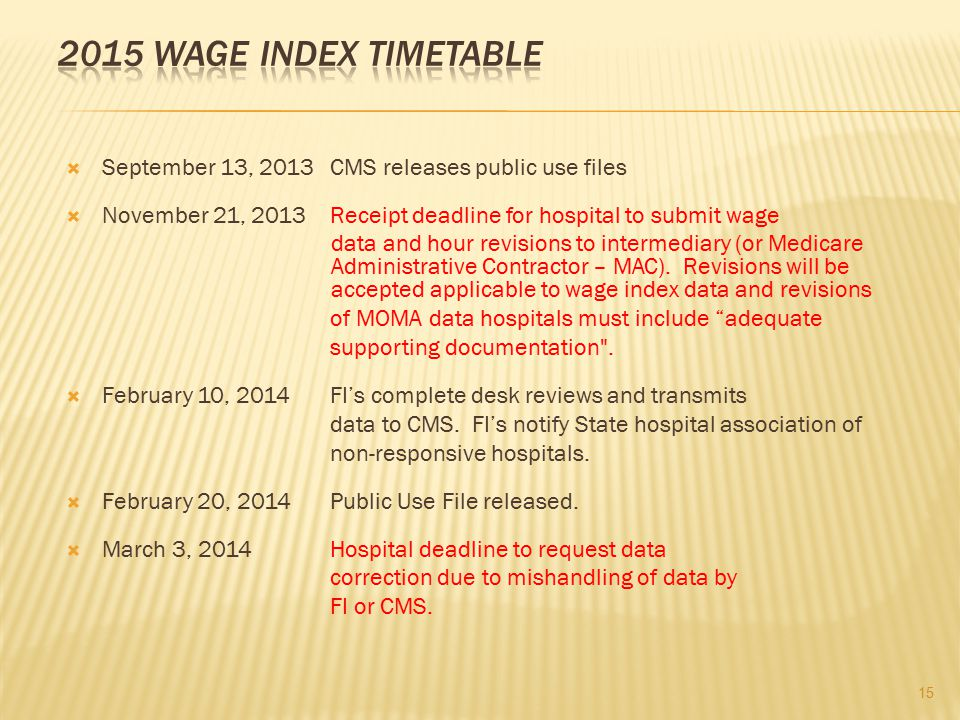 2015 WAGE INDEX TIMETABLE September 13, 2013 CMS releases public use files. November 21, 2013 Receipt deadline for hospital to submit wage.