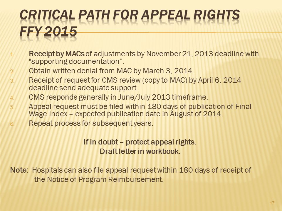 CRITICAL PATH FOR APPEAL RIGHTS FFY 2015