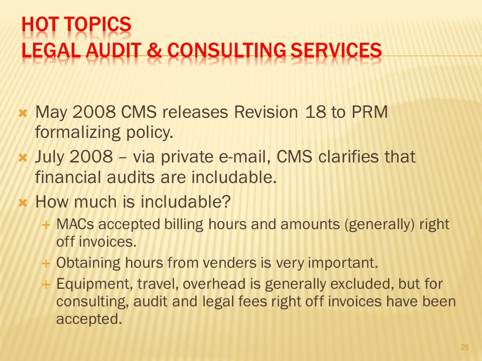 HOT TOPICS LEGAL AUDIT & CONSULTING SERVICES