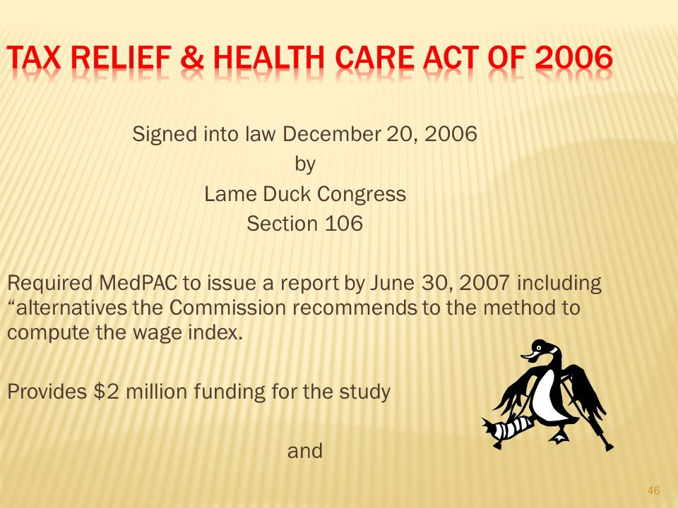 Tax Relief & Health Care Act of 2006