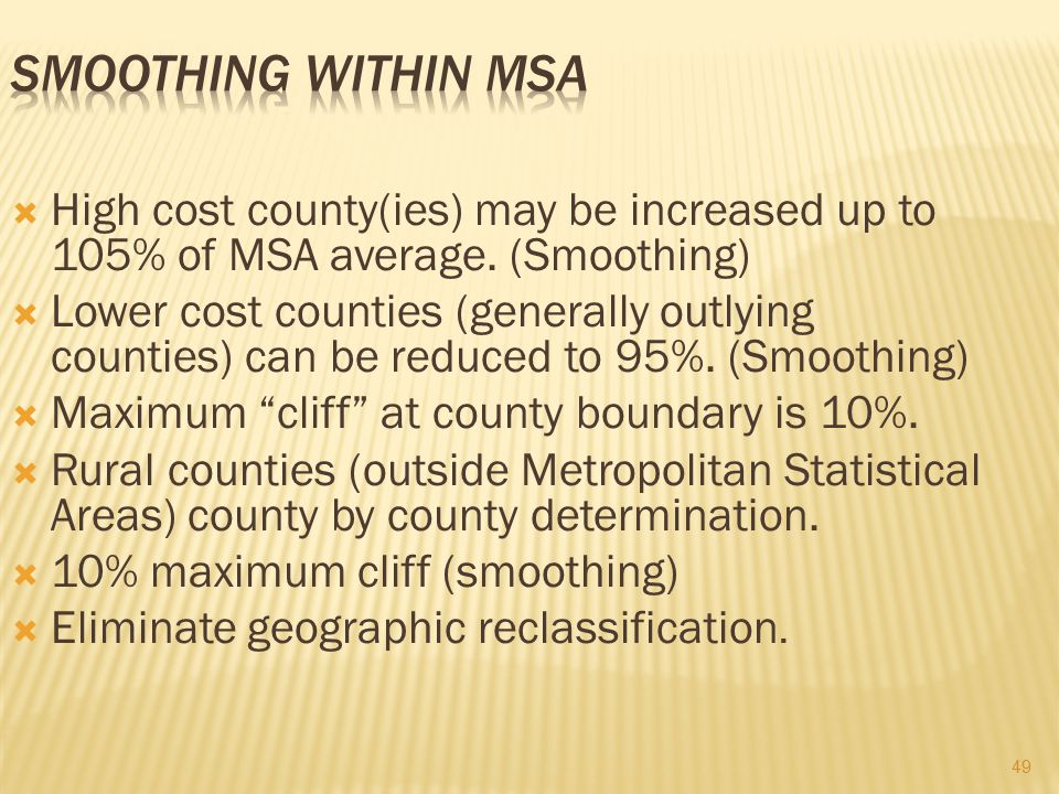 Smoothing Within MSA High cost county(ies) may be increased up to 105% of MSA average. (Smoothing)