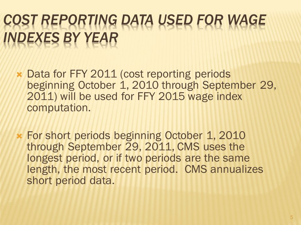 Cost Reporting Data Used For Wage Indexes By Year