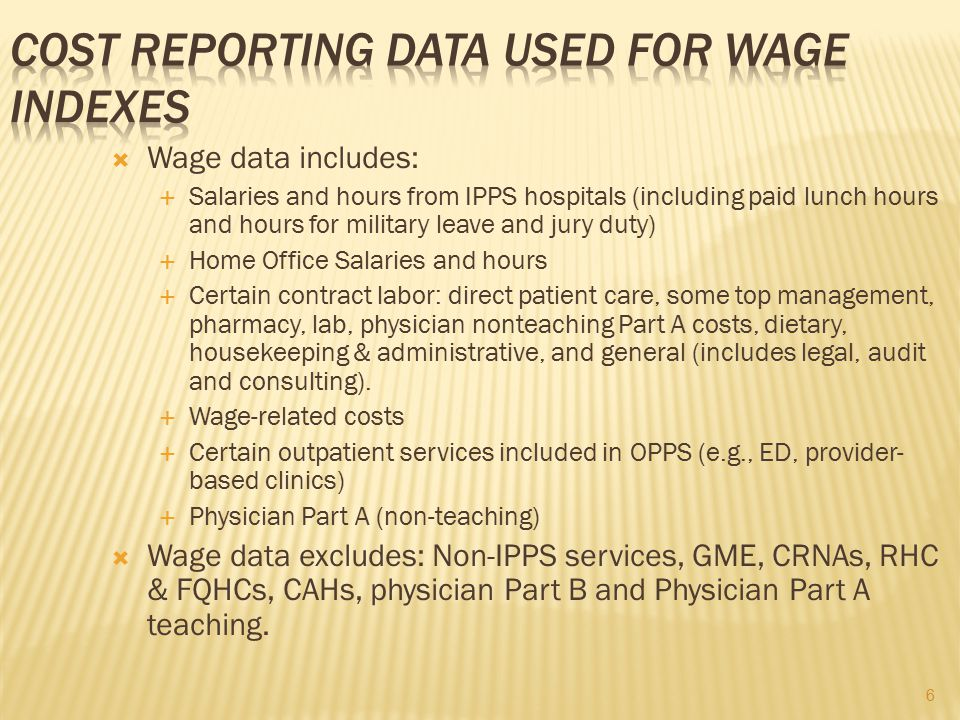 Cost Reporting Data Used For Wage Indexes