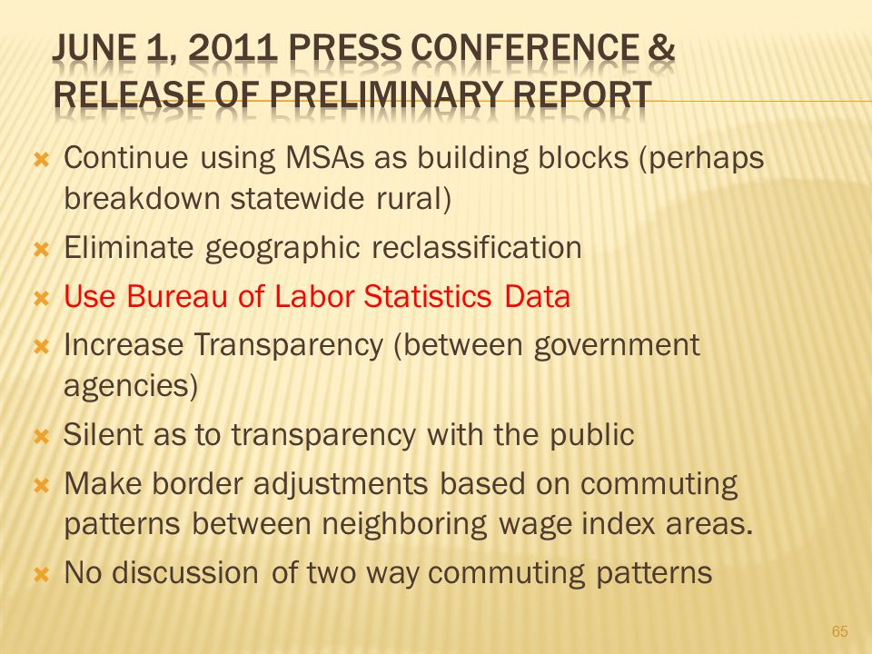 June 1, 2011 Press Conference & Release of Preliminary Report