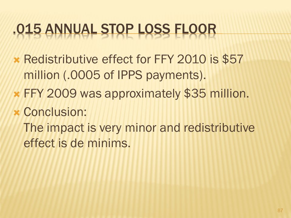 .015 Annual Stop Loss Floor Redistributive effect for FFY 2010 is $57 million (.0005 of IPPS payments).