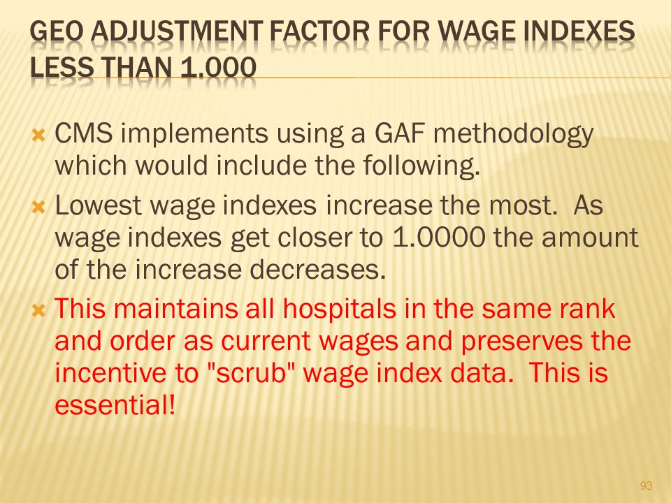 Geo Adjustment Factor for Wage Indexes Less Than 1.000
