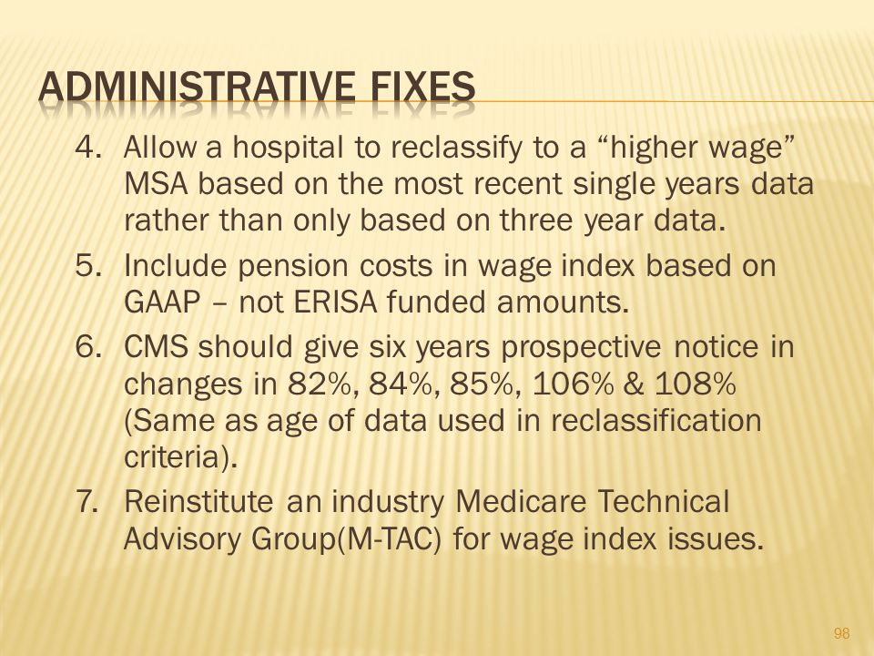 ADMINISTRATIVE FIXES