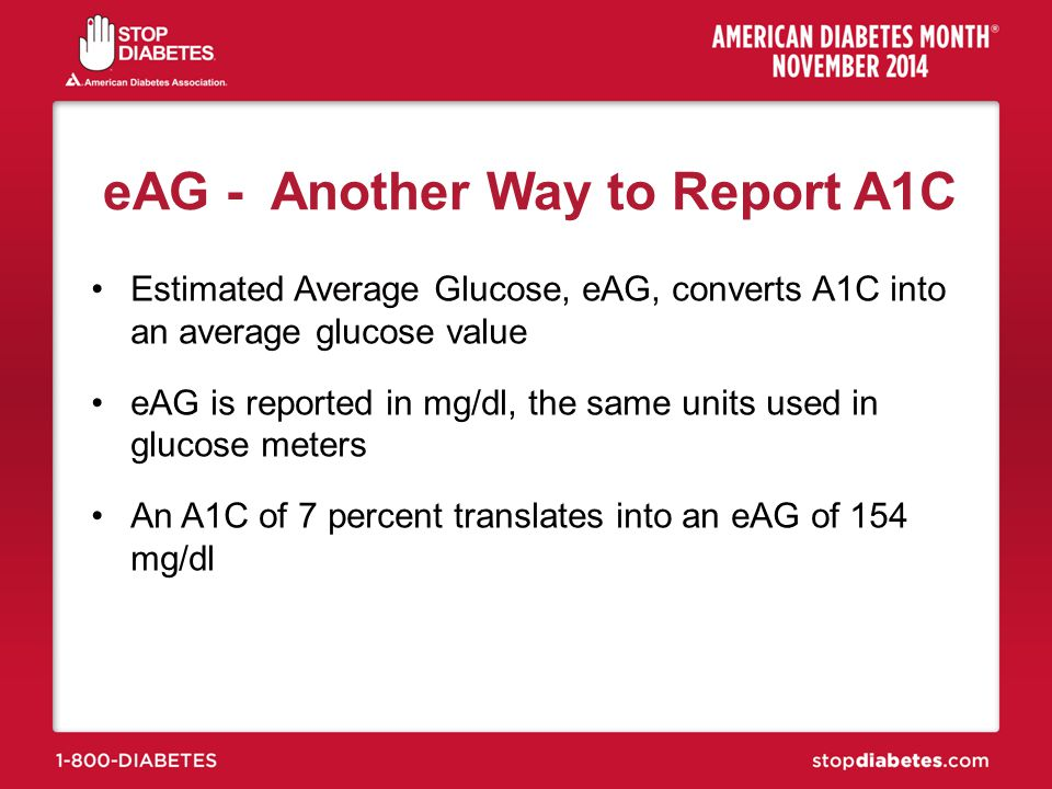 eAG - Another Way to Report A1C