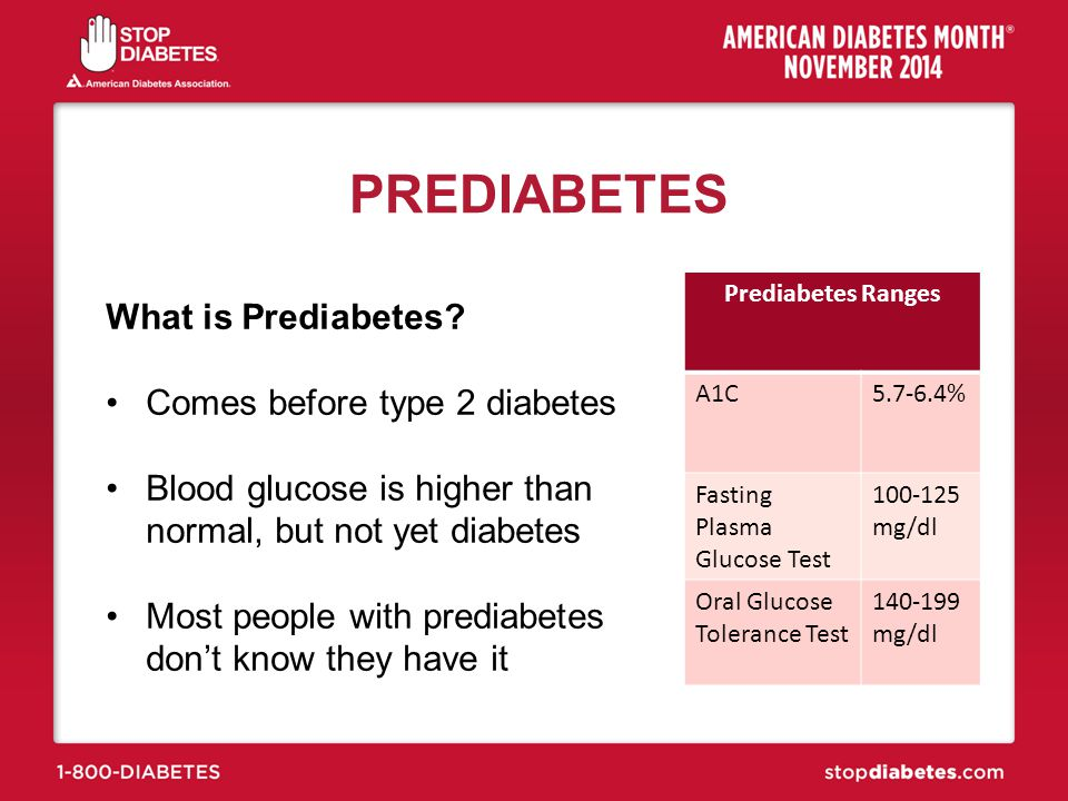 PREDIABETES What is Prediabetes Comes before type 2 diabetes