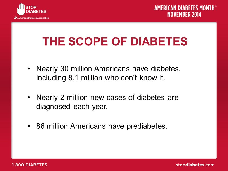 THE SCOPE OF DIABETES Nearly 30 million Americans have diabetes, including 8.1 million who don't know it.