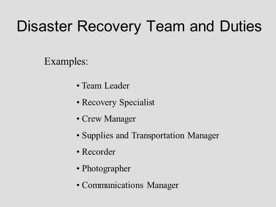Disaster Recovery Team and Duties