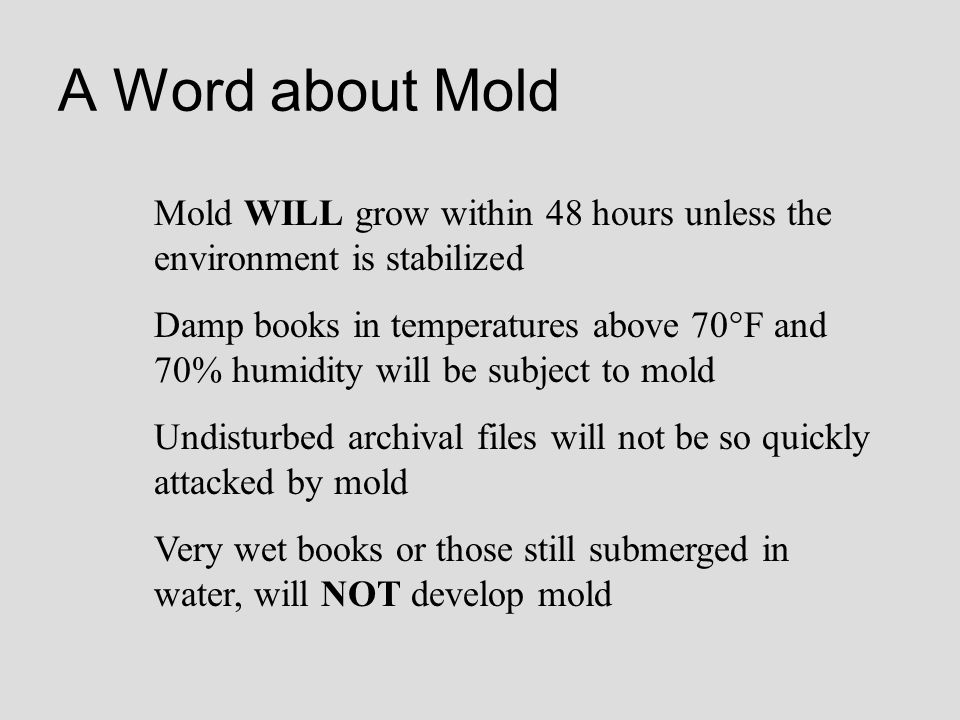 A Word about Mold Mold WILL grow within 48 hours unless the environment is stabilized.