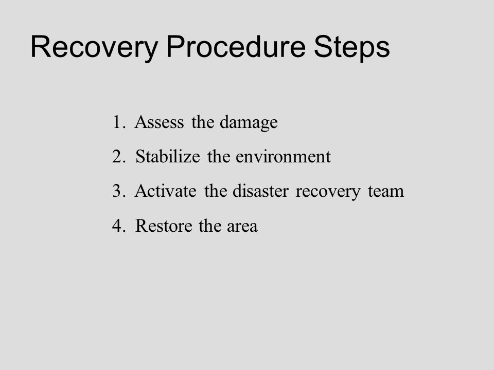 Recovery Procedure Steps