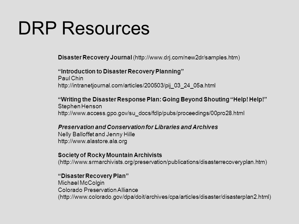 DRP Resources Disaster Recovery Journal (http://www.drj.com/new2dr/samples.htm)