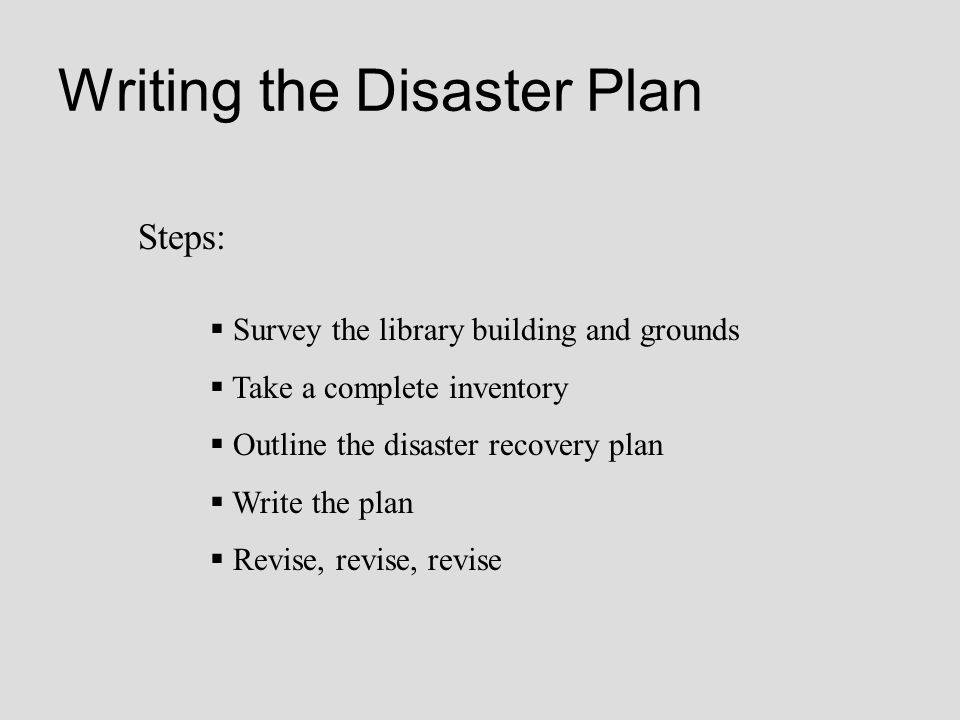 Writing the Disaster Plan