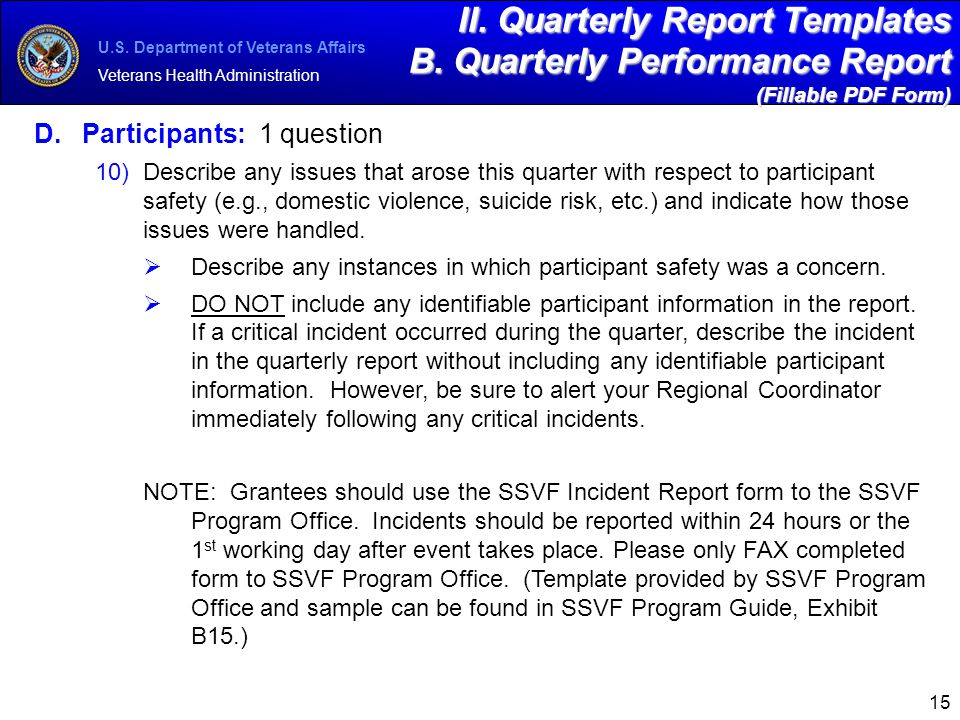 Sample Quarterly Report Template
