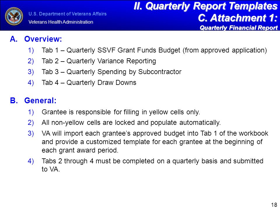 Supportive Services for Veteran Families SSVF Program ppt download – Quarterly Financial Report Template