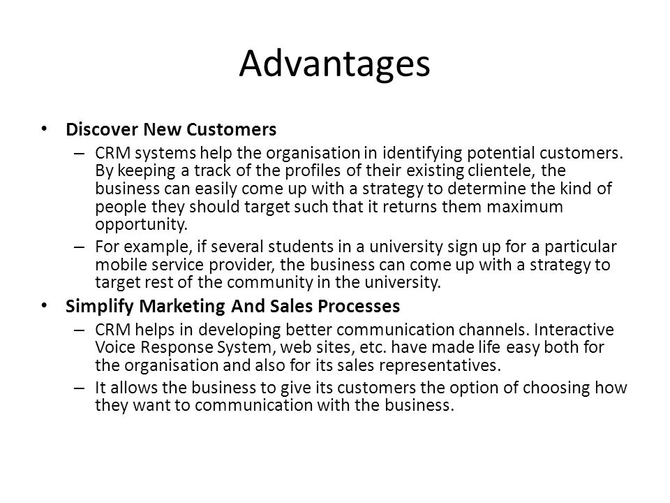 Advantages Discover New Customers