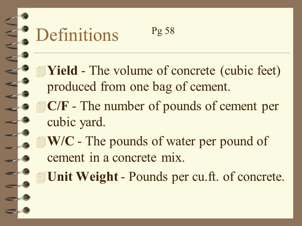 94 Lbs Bag Of Cement : Mix design concrete school ppt video online download