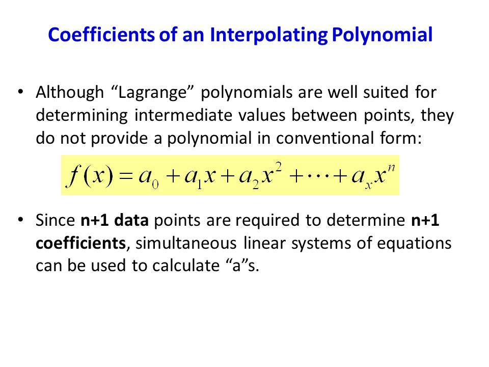 Coefficients of an Interpolating Polynomial