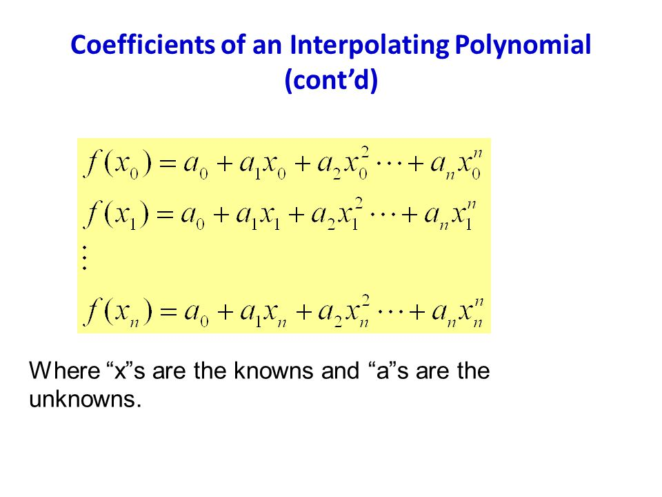 Coefficients of an Interpolating Polynomial (cont'd)