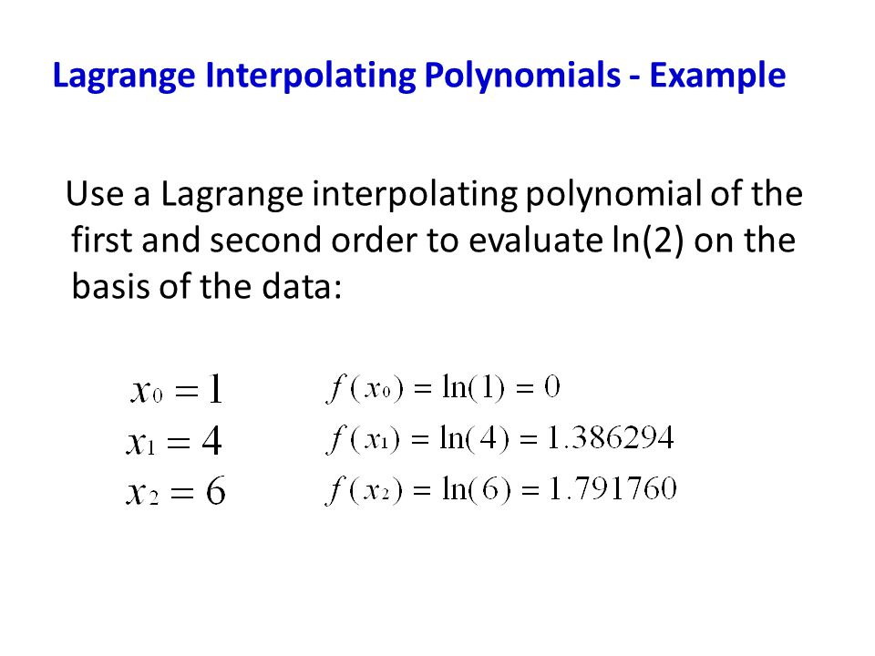 Lagrange Interpolating Polynomials - Example