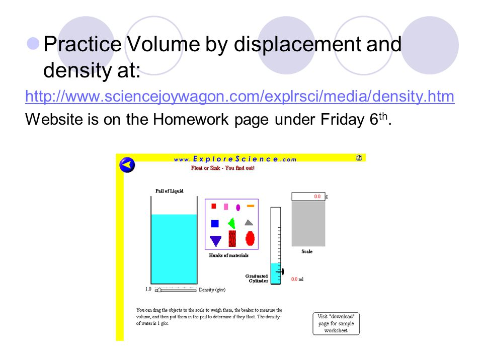 Density ppt download – Volume by Water Displacement Worksheet