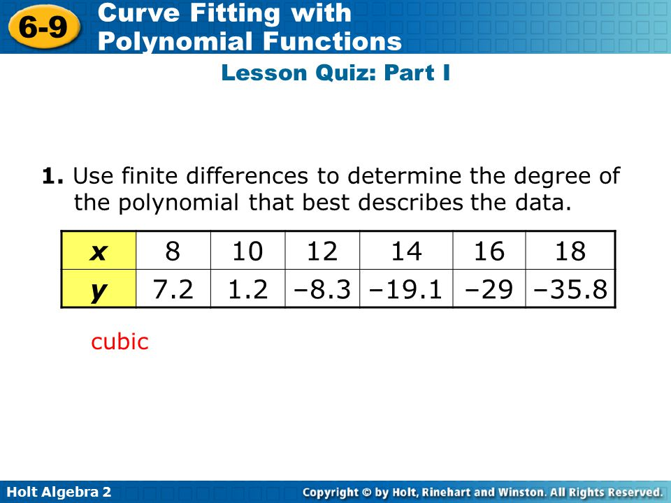 x 8 10 12 14 16 18 y 7.2 1.2 –8.3 –19.1 –29 –35.8 Lesson Quiz: Part I