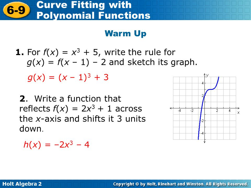 Warm Up 1. For f(x) = x3 + 5, write the rule for g(x) = f(x – 1) – 2 and sketch its graph. g(x) = (x – 1)3 + 3.