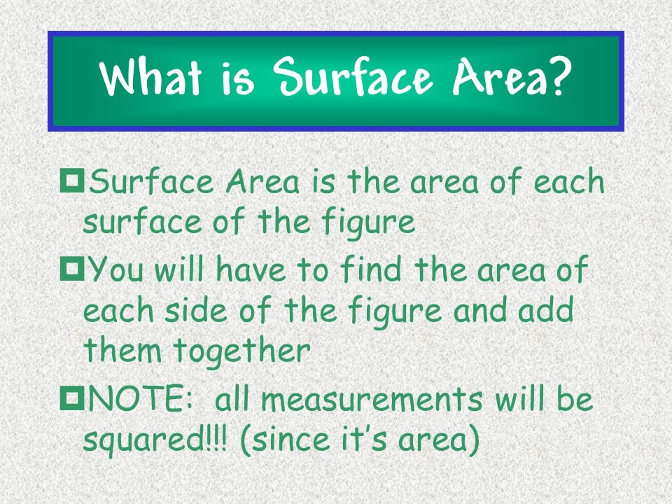 What is Surface Area Surface Area is the area of each surface of the figure.