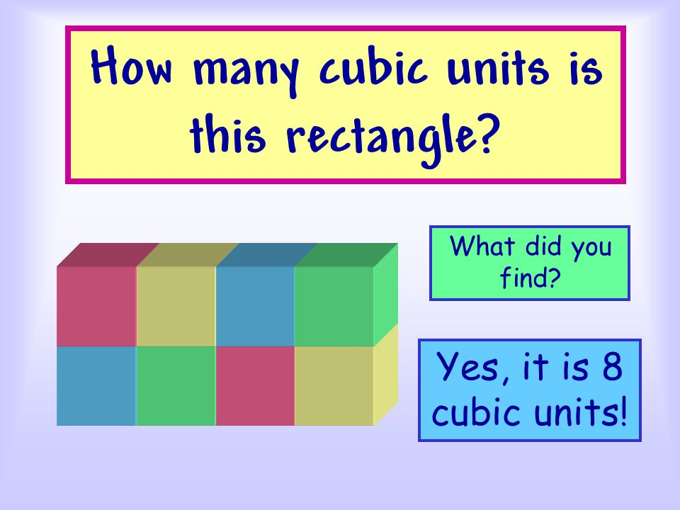 How many cubic units is this rectangle