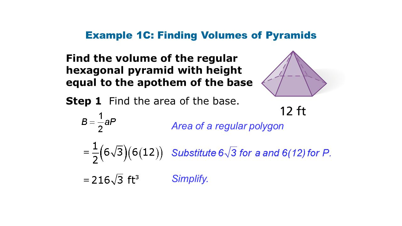 Example 1c: Finding Volumes Of Pyramids