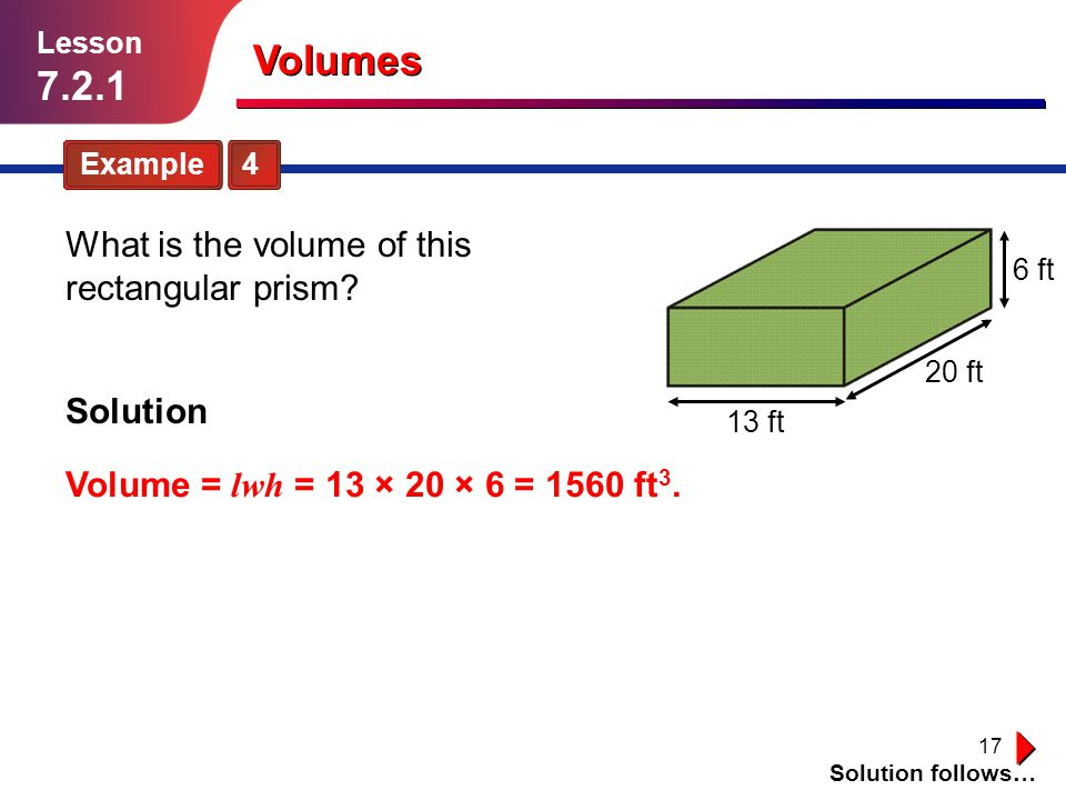Volumes What is the volume of this rectangular prism Solution