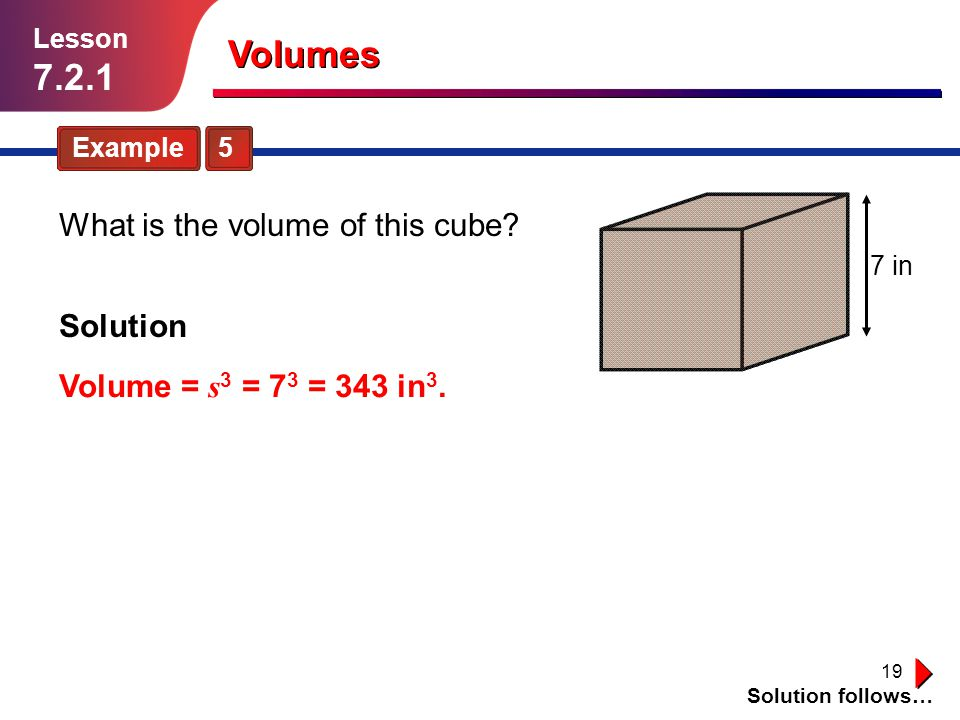 Volumes What is the volume of this cube Solution