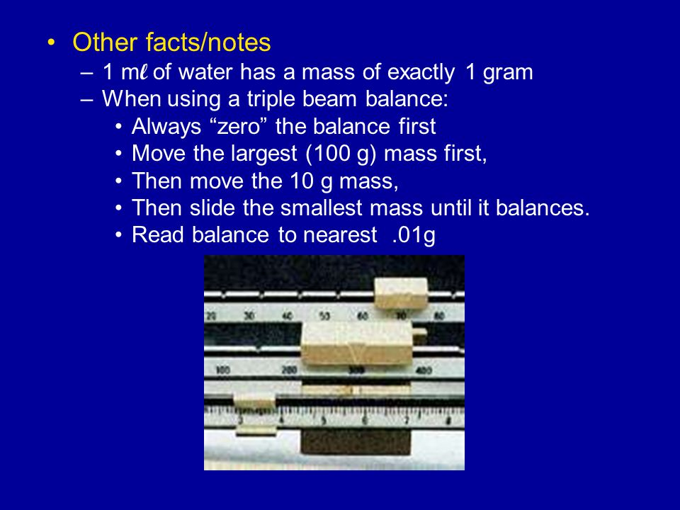 Other facts/notes 1 ml of water has a mass of exactly 1 gram