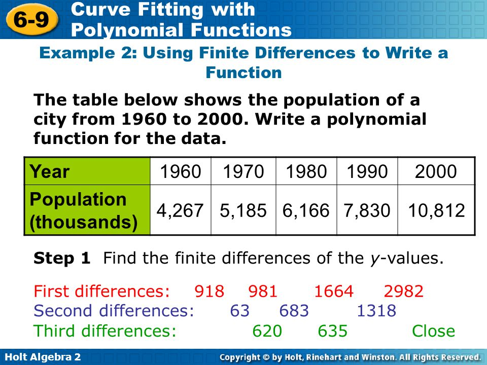 Example 2: Using Finite Differences to Write a Function