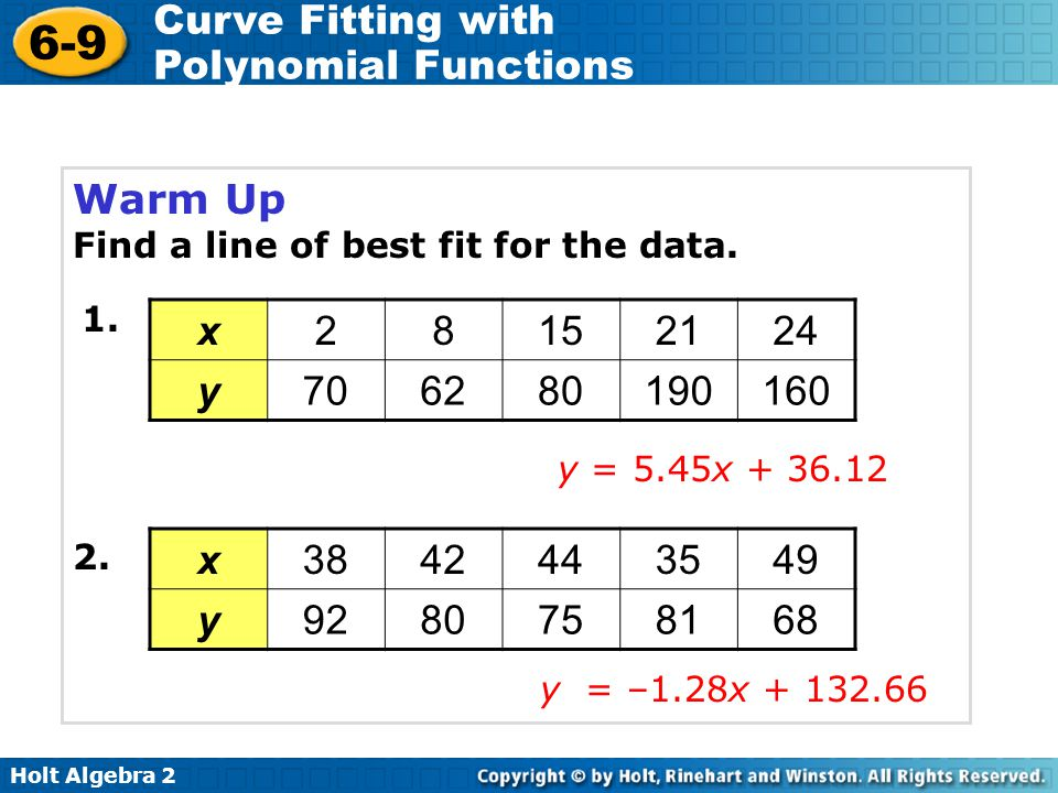 Warm Up Find a line of best fit for the data. 1. x. 2. 8. 15. 21. 24. y. 70. 62. 80. 190.