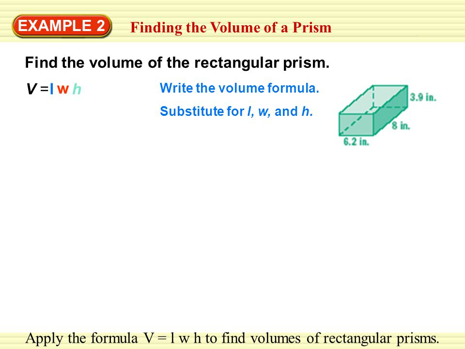 how to find volume from w v and v v