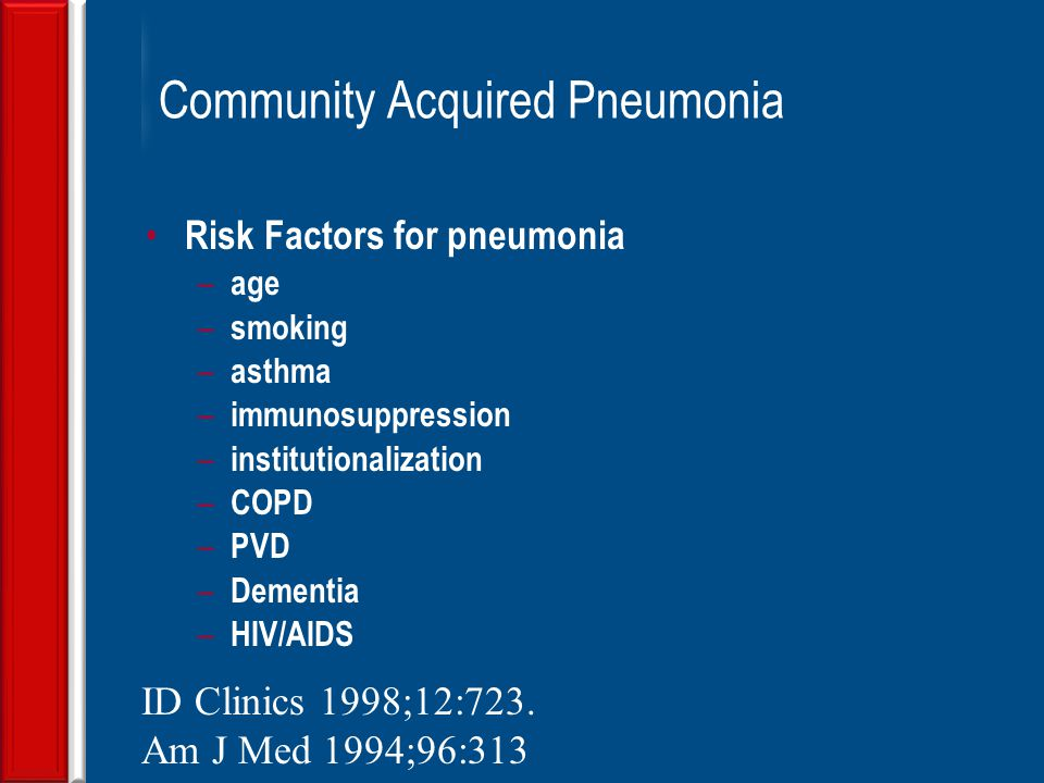 community acquired pneumonia Community acquired pneumonia (cap) is a common respiratory disease and a   the mean duration of hospitalization was 80 ± 46 days and mortality rate of.