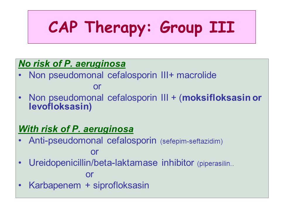 CAP Therapy: Group III No risk of P. aeruginosa